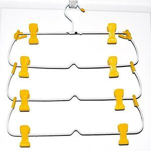 Vtg 4-Tier Skirt Hanger w/ Yellow Plastic Clips